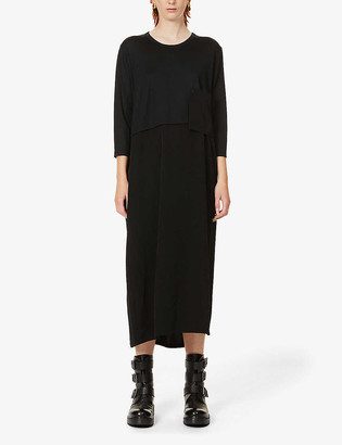 Y's Asymmetric relaxed-fit wool and crepe midi dress
