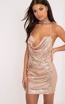 PrettyLittleThing Tarria Rose Gold Sequin Chain Choker Mini Dress