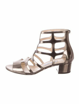 Jimmy Choo Patent Leather Gladiator Sandals Gold