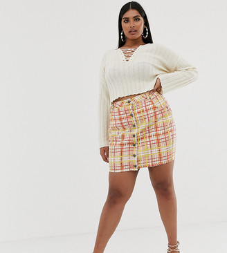 N. Liquor Poker Plus bright check denim skirt