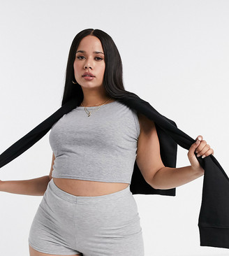 Fashionkilla Plus longline crop top in grey
