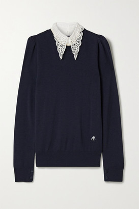 Adam Lippes Poplin And Crocheted Lace-trimmed Wool Sweater - Black