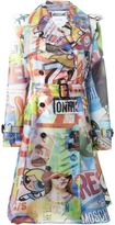 Moschino multi print trench coat