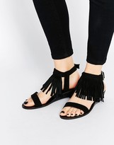 Asos FABIO Fringe Mini Wedge Sandals