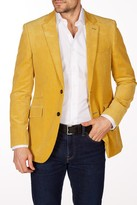 Levinas Yellow Corduroy Two Button Notch Lapel Wool Slim Fit Blazer