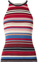 ELEVEN SIX - Lia Striped Ribbed Stretch-pima Cotton Tank - Red