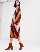 NATIVE YOUTH high neck sweater dress in contrast stripe knit