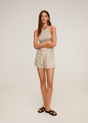 MANGO Belt shorts sand - S - Women