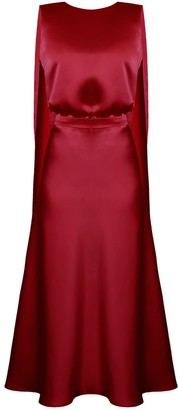 Undress Rosa Deep Red Midi Dress With Back Ribbons
