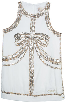 Roberto Cavalli White Sequin Embellished Sleeveless Dress 14 Yrs