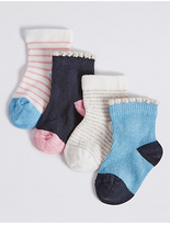 Marks and Spencer 4 Pairs of Cotton Rich Socks with StaySoftTM (0-24 Years)