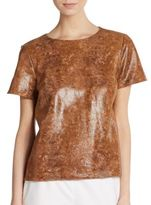 Lafayette 148 New York Morgan Reptile-Embossed Leather Top