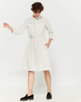 Le Mont St Michel Check Long Sleeve Skater Dress