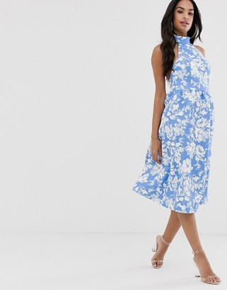 Asos Design DESIGN blue floral halter midi skater dress