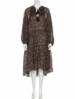 DÔEN Paisley Print Midi Length Dress Black Paisley Print Midi Length Dress
