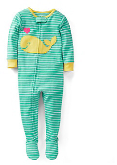 Carter's Baby Girls' Turquoise/Yellow Striped Whale Footed Pajamas