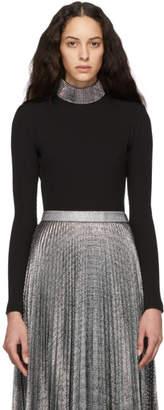Christopher Kane Black Ribbed Jersey Crystal Bodysuit