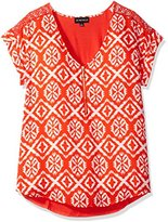 My Michelle Junior's Printed Short Sleeve Blouse with Lace Inset Sleeves, Red/Orange