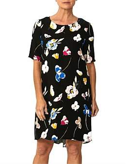 Ping Pong Elbow Slv Peony Print Dress