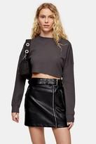 Topshop Womens Charcoal Grey Waffle Henley Long Sleeve Top - Charcoal