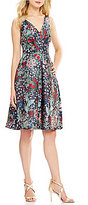 Eva Franco V-Neck Brocade Hi-Low Midi Dress