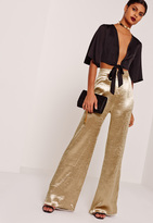 Missguided Satin Wide Leg Trousers Gold