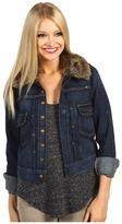 Lucky Brand Faux Fur Collar Denim Jacket (Dark Ronstadt) - Apparel