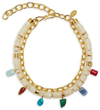 Lizzie Fortunato 18K Goldplated, Mother-Of-Pearl & Mixed Stone Charm 2-Strand Necklace
