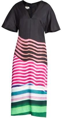 Dries Van Noten Abstract Stripe V-Neck Dress