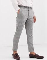 Asos Design ASOS DESIGN skinny suit trousers in soft grey pinstripe