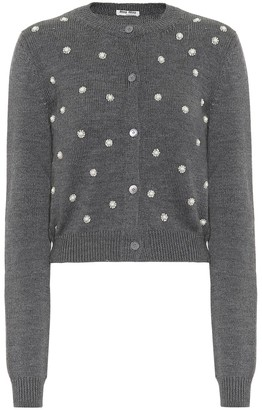 Miu Miu Embellished virgin wool cardigan
