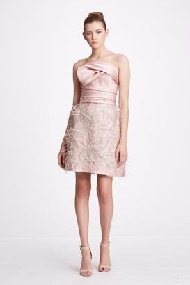 Marchesa Strapless Satin Mini Cocktail Dress