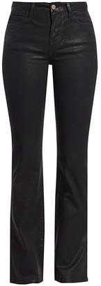 Frame Le Mini Mid-Rise Bootcut Coated Jeans