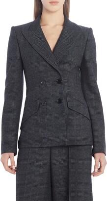 Fendi Double Breasted Check Wool Blazer