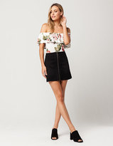 IVY & MAIN Denim Zip Mini Skirt