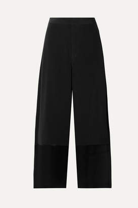 Co Cropped Satin-trimmed Crepe Wide-leg Pants - Black