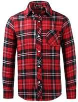 uxcell Allegra K Man Single Breasted Round Hem Chest Pocket Check Print Shirt M