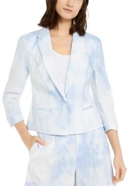 INC International Concepts Inc Short Tie-Dye Linen-Blend Blazer, Created for Macy's