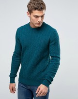 Jack Wills Merino Sweater In Cable Teal