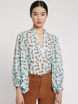 Alice + Olivia CASEY FLORAL WIDE SLEEVE BLOUSE