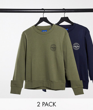 Jack and Jones Core 2 pack sweatshirts with stamp logo in green & navy