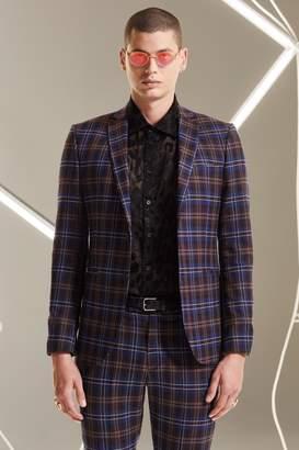 boohoo Tartan Skinny Fit Suit Jacket