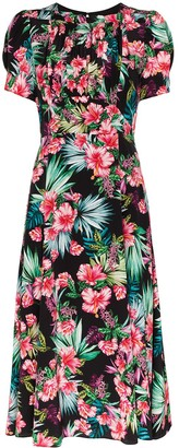 Les Rêveries Hibiscus print midi dress
