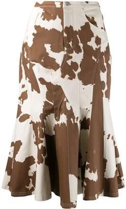 Miaou cow print godet skirt