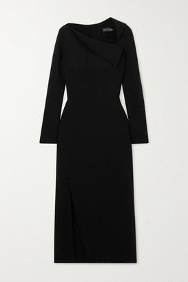 Oscar de la Renta Draped Stretch-wool Crepe Midi Dress - Black