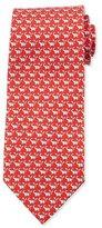 Salvatore Ferragamo Elephant-Print Silk Tie, Red