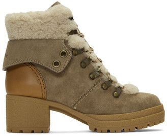 See by Chloe Taupe Eileen Heeled Boots