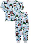 Sara's Prints SNOWMAN-PRINT COTTON-BLEND PAJAMA SET
