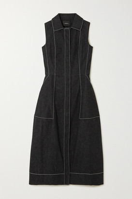Akris Topstitched Denim Midi Dress - Black