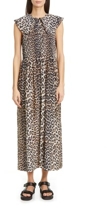 Ganni Ruffle Collar Leopard Print Maxi Dress